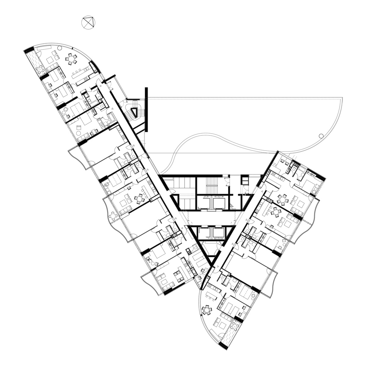 Wien danube flats 163m in planung page 43 for Triangular house floor plans