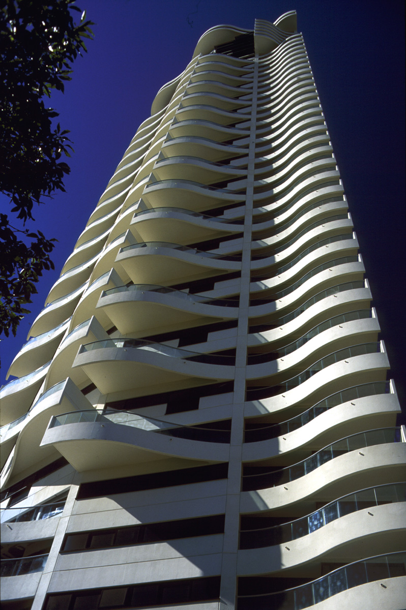 Upward View Of Tower With Reversed Plan Staggered Balconies