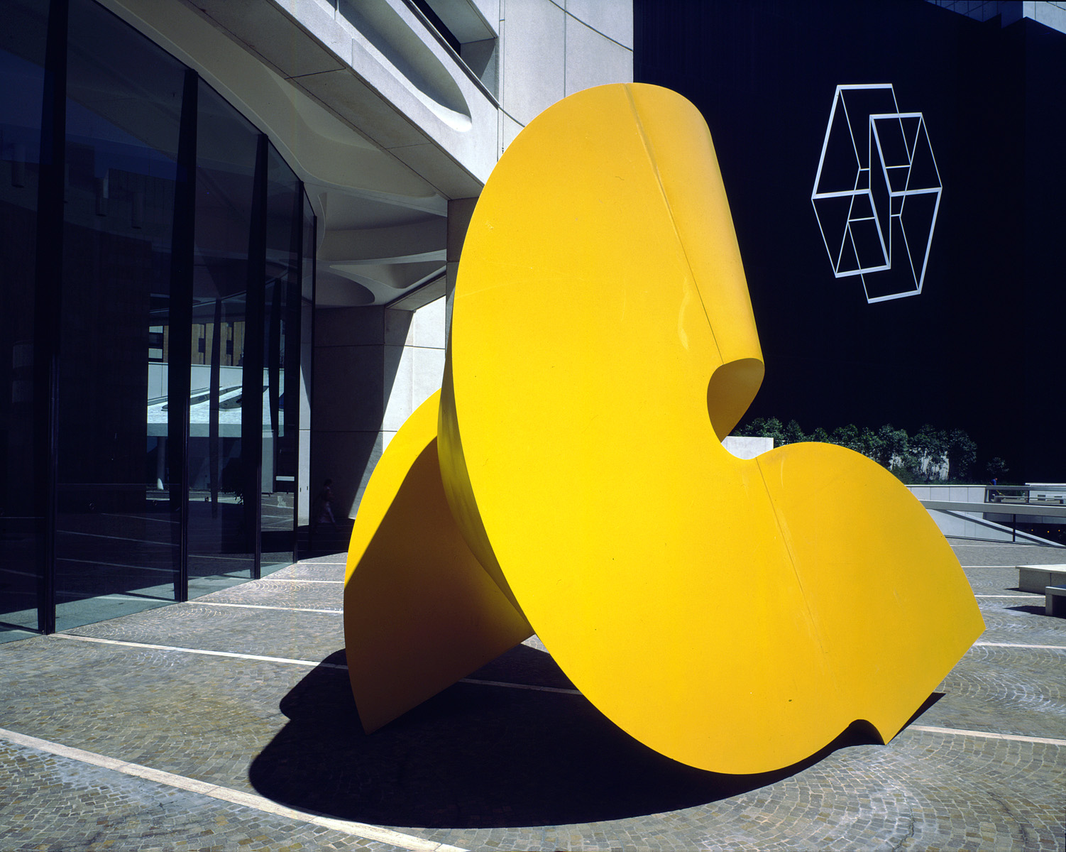 Albers structural installation 'Wrestling' behind a Charles Perry scupture on MLC's plaza