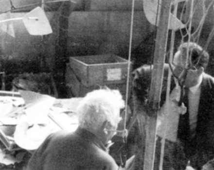 With Alexander Calder in Roxbury, Connecticut, 1965