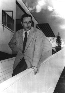 Harry Seidler on the ramp of the Rose Seidler House circa 1952