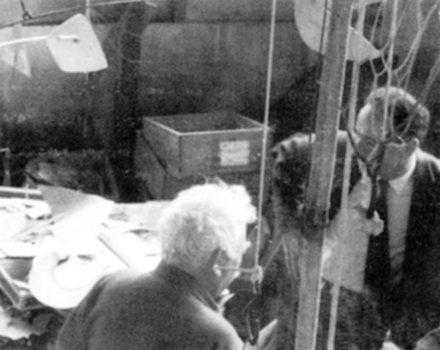 With Alexander Calder in Roxbury, Connecticut, 1965