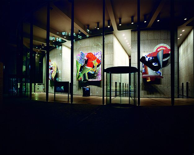 The North Lobby with Frank Stella artworks at night