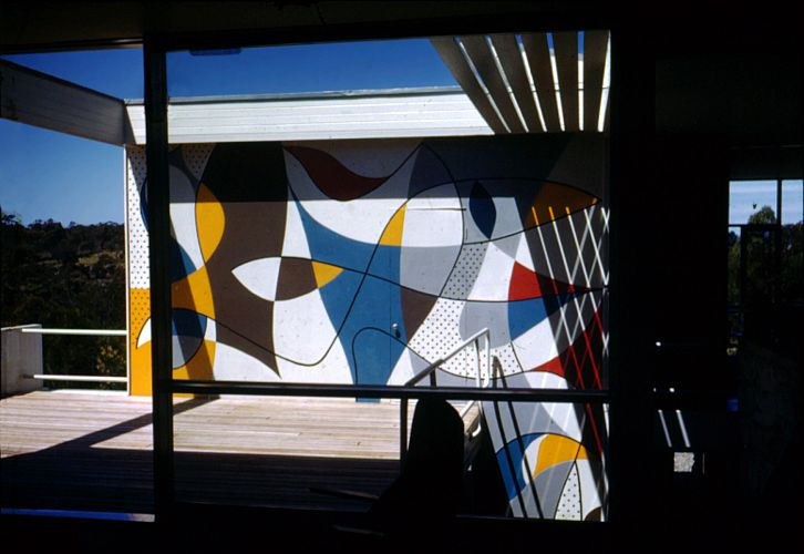 The terrace with mural by Harry Seidler